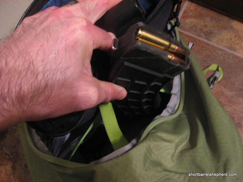 This 30-round US Palm magazine is in the water bladder pouch in my  bag's main compartment.