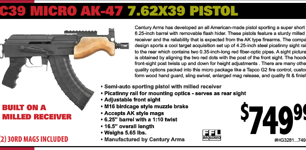 Initial pricing on the C39 Micro AK47 Pistol