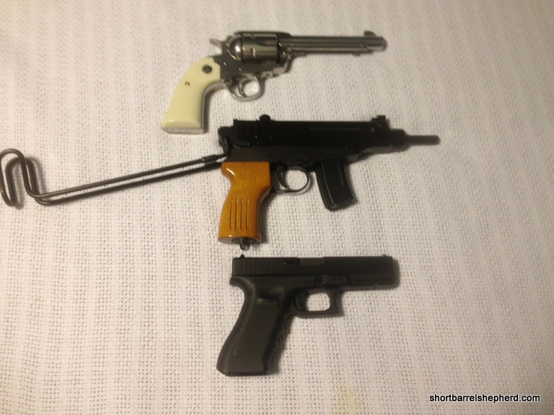 """The vz61 compared to a Ruger Bisley 5 1/2"""" and a Glock 17"""